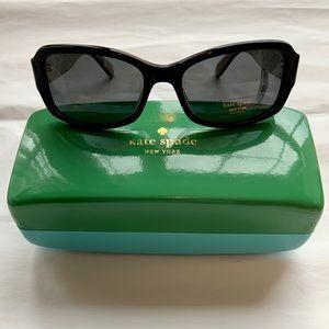 NWT KATE SPADE Black Gold Glitter Adley Sunglasses